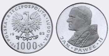 1000 злотов с портретом Иоанна Павла II